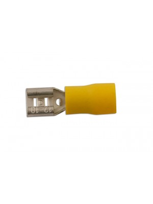 Yellow Female Fully Ins. Push-On 6.3mm - Pack 100