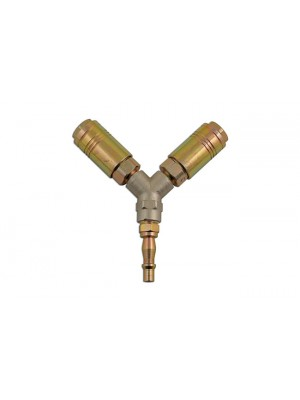 Fastflow Twin Single Action Air Line Y-Coupling - Pack 1