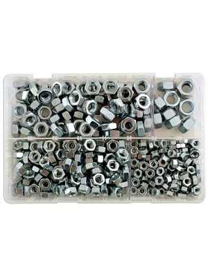 Assorted MM Plain Steel Nuts Box - 370 Pieces