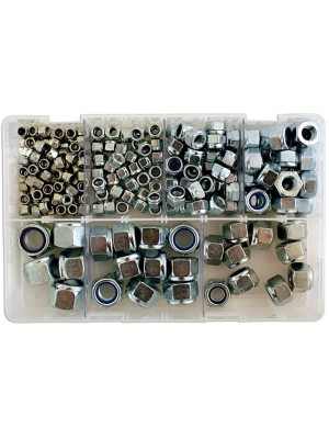 Assorted MM Nyloc Steel Nuts Box - 220 Pieces
