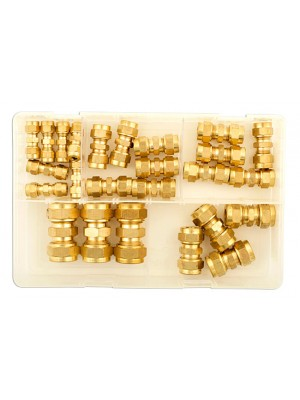 Assorted Imperial Brass Tube Couplings Box - 25 Pieces