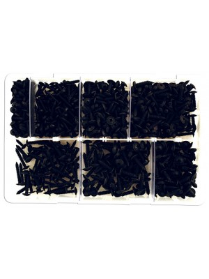 Assorted Self Tapping Black Flanged Screws Box - 700 Pieces
