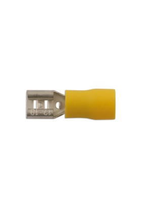 Yellow Female Push On Insulated Terminal 6.3mm - Pack 10