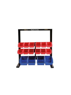 16 Storage Bin System with Magnetic Bar For Tool Storage
