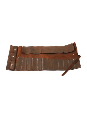 Leather Tool Roll Antique Finish 15 Pockets