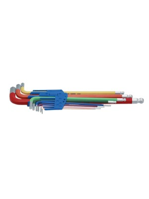 Colour Coded Hex Key Set - Ball End 9pc