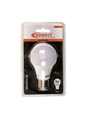 8W LED Bulb 6500K E27 ES Fitting Cold White - Pack 1